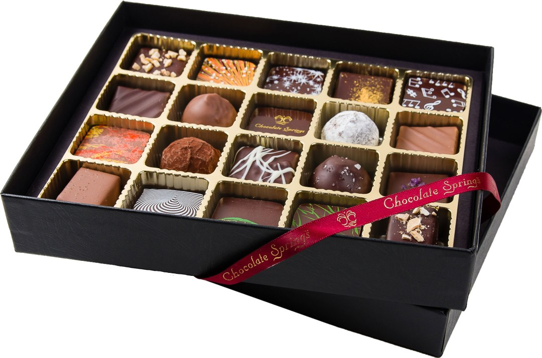 20 piece assortment of delicious, gourmet, European-style chocolates hand-crafted in the Berkshires. $39.95 Chocolate Springs 55 Pittsfield Road, Lenox, Mass. 413-637-9820 chocolatesprings.com
